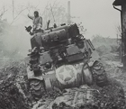 A Sherman tank bogged down.
